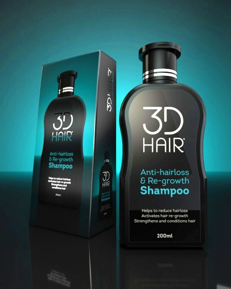 3DHair shampoo bottle and box packs